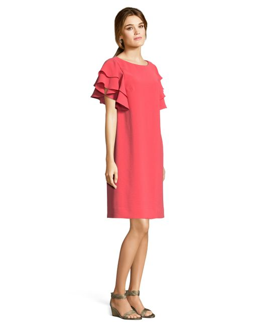 63369f9a52 Lyst - Adrianna Papell Crepe Shift Dress With Flutter Sleeves And ...