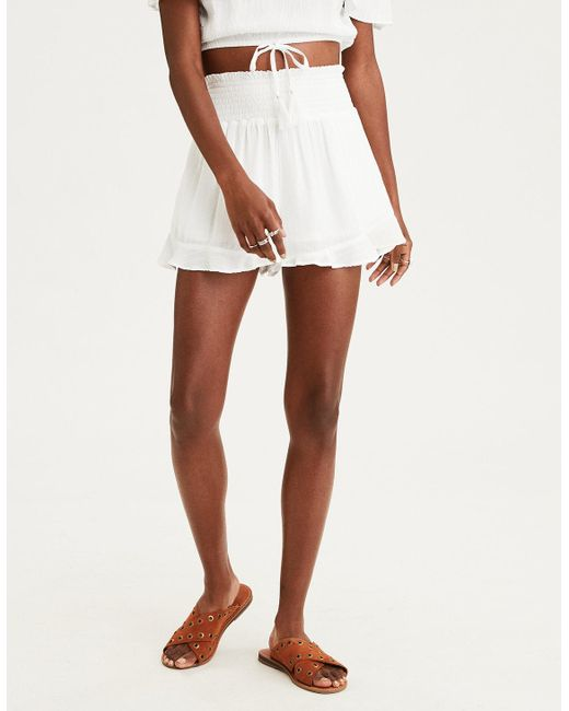 American Eagle - White Ae Smocked Ruffle Soft Short - Lyst