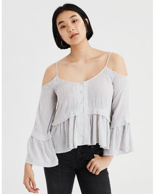 American Eagle - Black Ae Cold Shoulder Pintuck Ruffle Top - Lyst