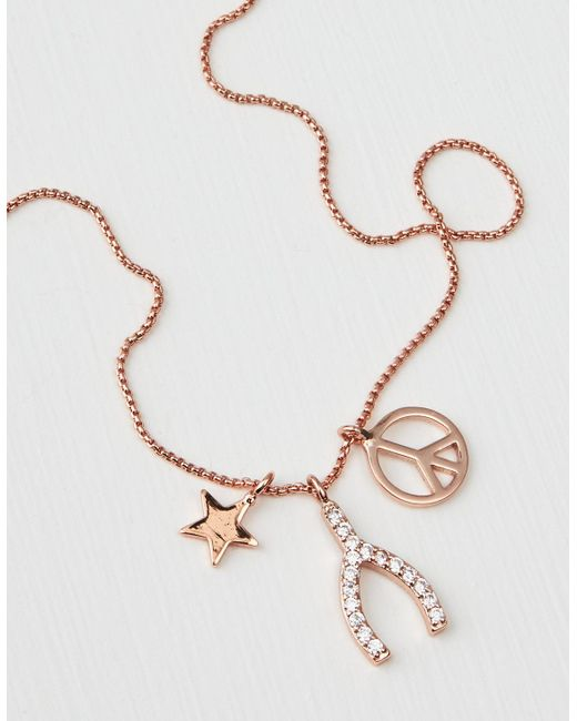 American Eagle - Metallic Rose Gold Wishbone Necklace - Lyst