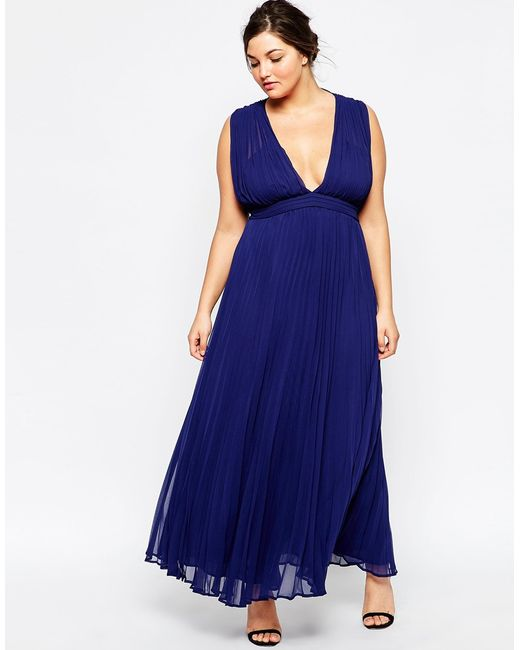 Asos curve wedding maxi dress with deep plunge in blue for Navy blue maxi dress for wedding