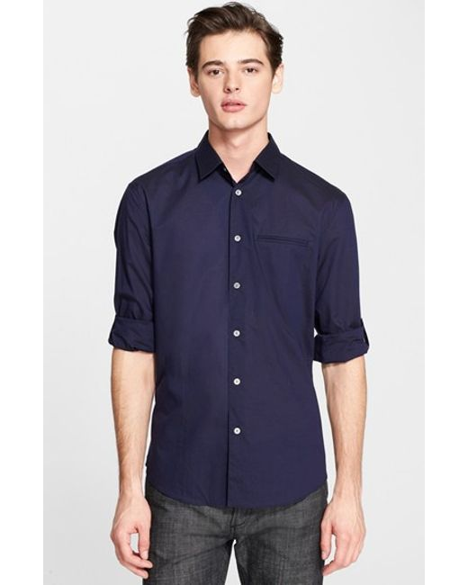 John Varvatos | Blue Slim Fit Cotton Woven Shirt for Men | Lyst