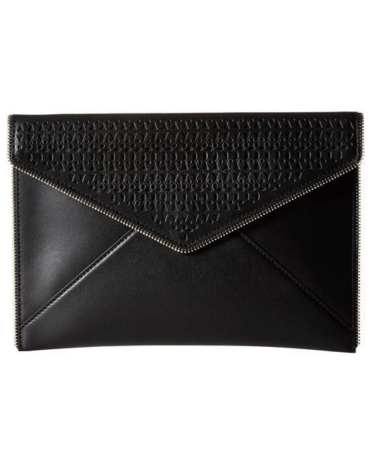 Rebecca Minkoff | Black Leo Saffiano Leather Envelope Clutch | Lyst