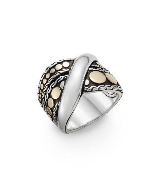 John Hardy   Metallic Dot Menari 18k Yellow Gold & Sterling Silver Twist Ring   Lyst