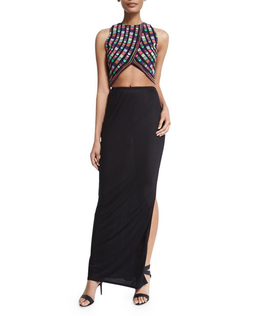 6 shore road by pooja temple embroidered crop top with