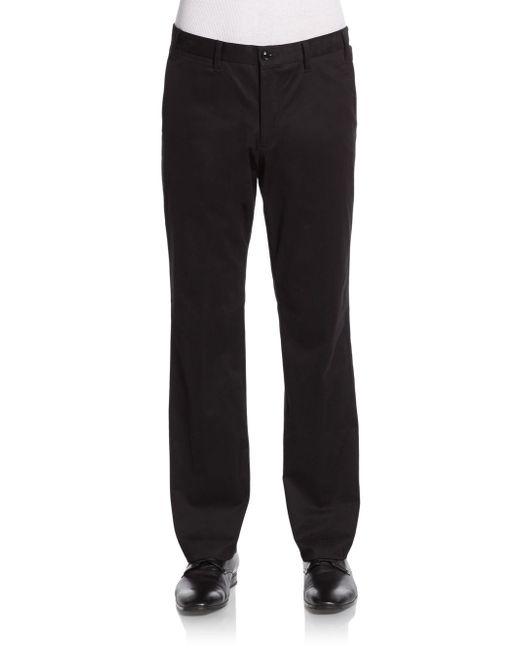 Saks Fifth Avenue | Black Stretch-cotton Pants for Men | Lyst