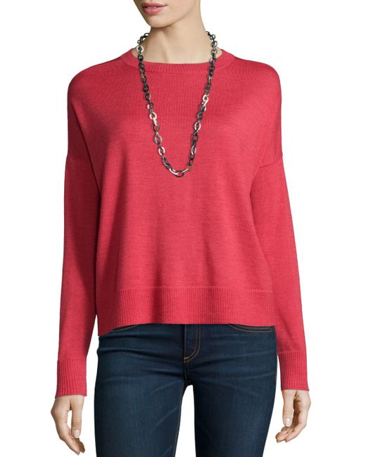 Eileen Fisher | Red Crewneck Merino Jersey Box Top | Lyst