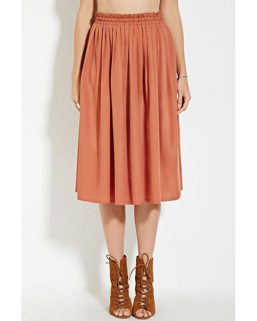 Forever 21 Contemporary Pleated A Line Skirt In Orange