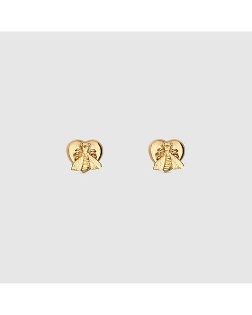 Gucci | Yellow Earrings With Bee Heart Motif | Lyst