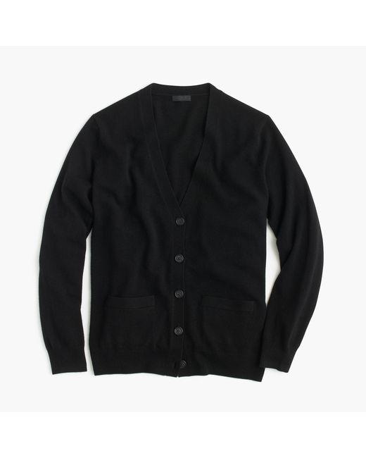 J.Crew | Black Italian Cashmere Boyfriend Cardigan Sweater | Lyst