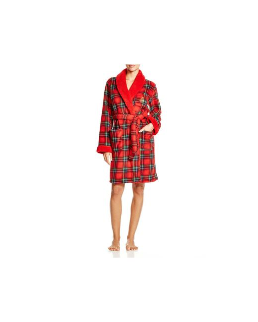 Pink Pony | Red Lauren Bonded Sherpa Short Shawl Collar Robe | Lyst
