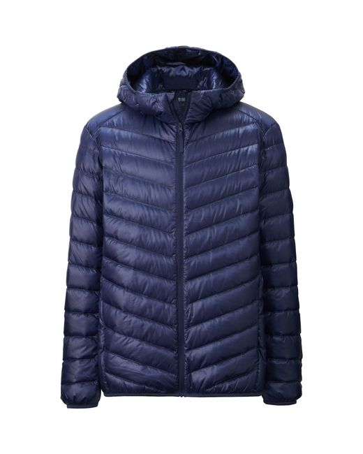 uniqlo men ultra light down hooded jacket in blue for men save 12. Black Bedroom Furniture Sets. Home Design Ideas