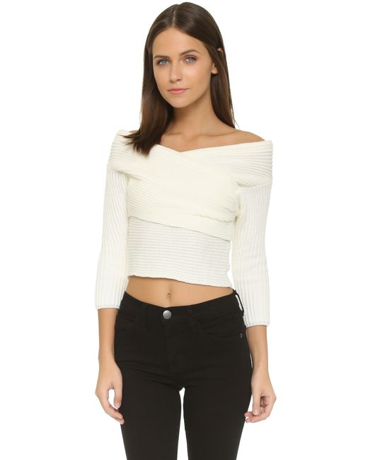 Line & Dot | Natural Wrap Sweater Top - Grey | Lyst