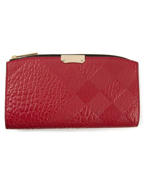 Burberry Embossed Leather Zip Around Wallet: Burberry Embossed Check Wallet In Red