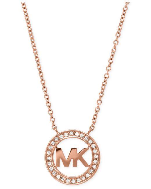 Michael Kors | Metallic Silver-tone Pavé Mk Logo Pendant Necklace | Lyst