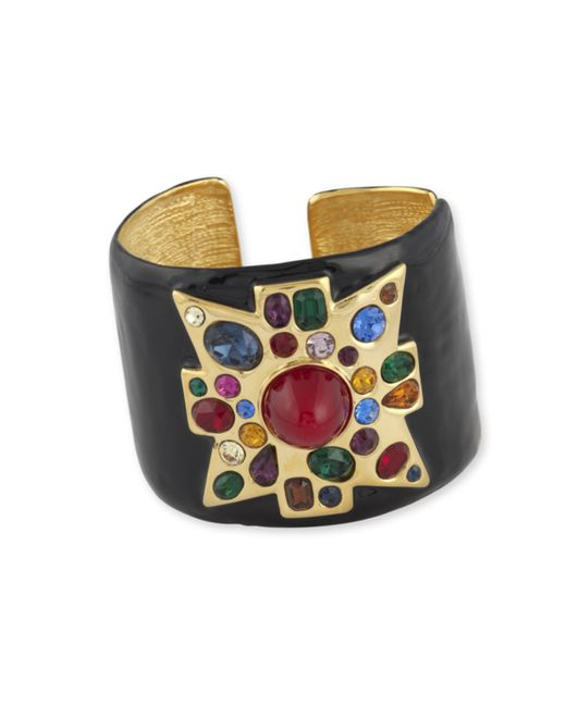 Kenneth Jay Lane | Black Enamel Maltese Cross Cuff | Lyst