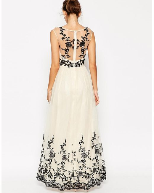Chi Chi London Premium Lace Embroidered Full Tulle Maxi