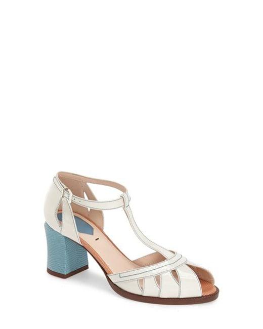 Fendi | White Chameleon Patent-Leather Peep-Toe Sandals | Lyst