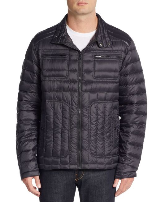 Hawke Amp Co Packable Moto Quilted Down Jacket In Black For