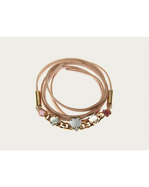 Sabrina Dehoff | Metallic Fine Curb Pearly Heart Bracelet | Lyst