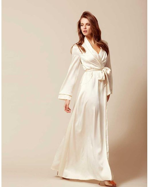 Agent Provocateur Classic Long Dressing Gown Ivory in White - Lyst