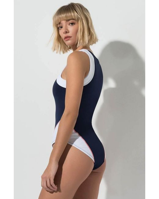 09fa8e9a32e40 ... Fila - Blue Sheenah Bodysuit - Lyst ...