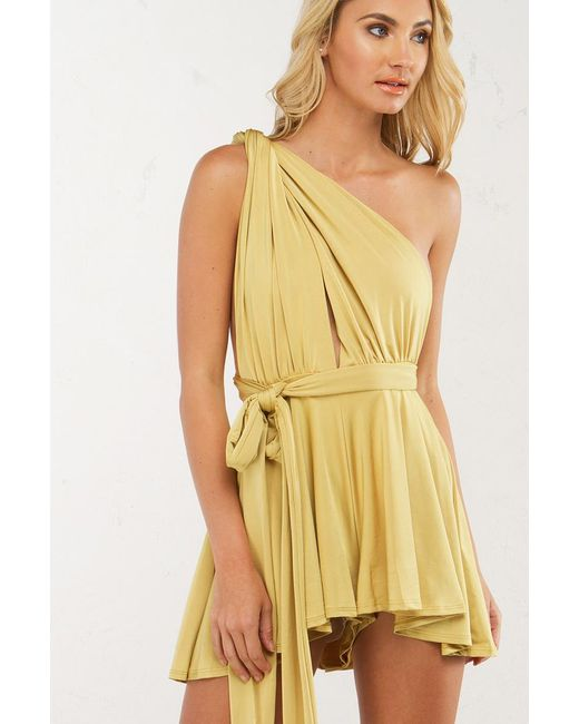 Akira | Yellow New You Tie Up Romper | Lyst