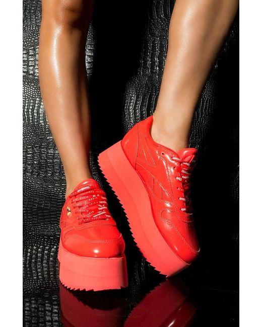 Reebok - Gigi Hadid X Cl Leather Platform Sneaker In Red Patent - Lyst ... 9f5988001