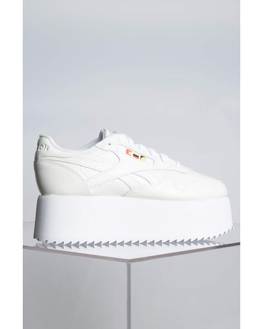 ef221d71b1b68 ... Reebok - Gigi Hadid X Cl Leather Platform Sneaker In White Patent -  Lyst ...