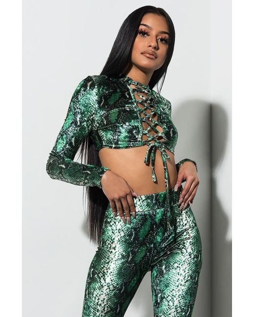 0bb20a6bf14db Akira - Green Find Some Time Velvet Snake Crop Top - Lyst ...