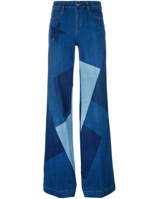 Stella McCartney   Blue Wide Leg Faded Cotton Denim Jeans   Lyst