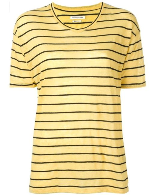 Toile isabel marant 39 andreia 39 striped t shirt in yellow for Isabel marant t shirt sale