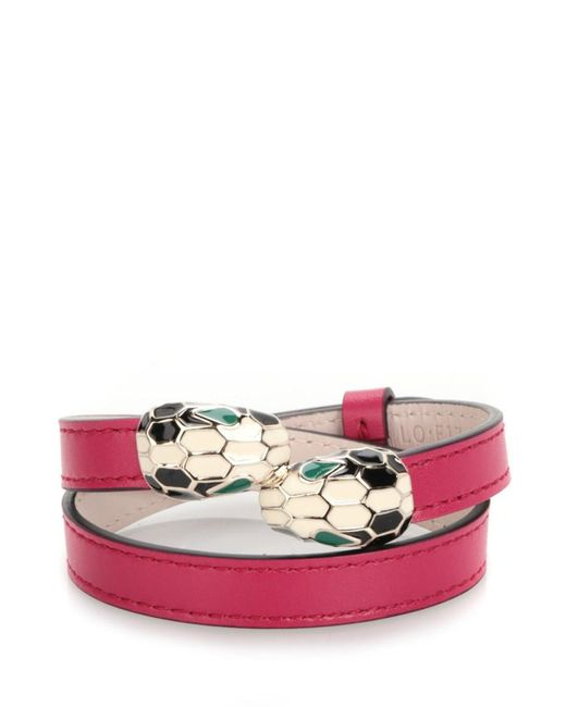 BVLGARI | Pink 'serpenti Forever' Small Leather Bracelet | Lyst