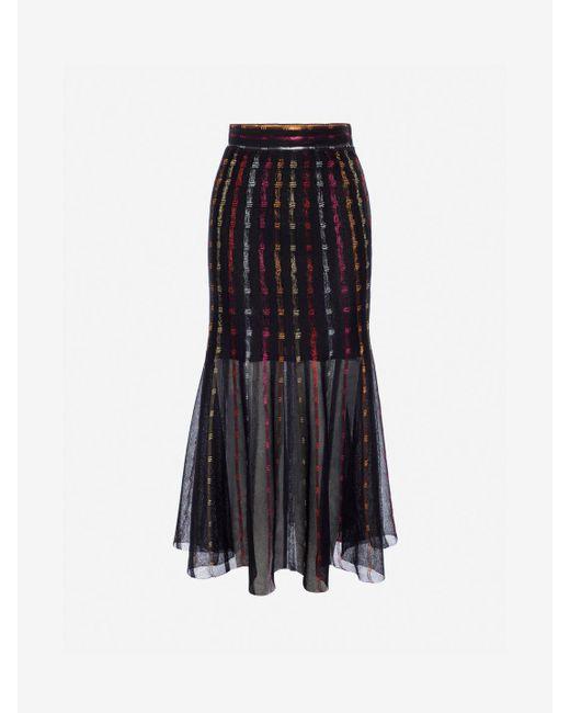Alexander McQueen - Black Sheer Knit Midi Skirt - Lyst