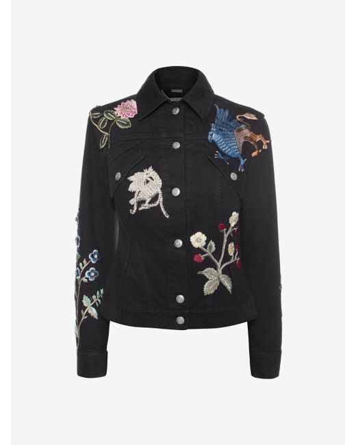 Alexander McQueen | Black Embroidered Denim Jacket | Lyst