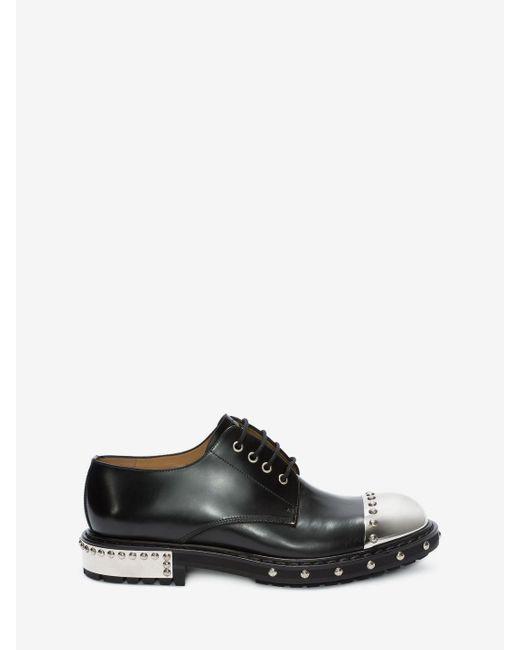 Alexander McQueen - Black Hobnail Metal Toe-cap Derby for Men - Lyst