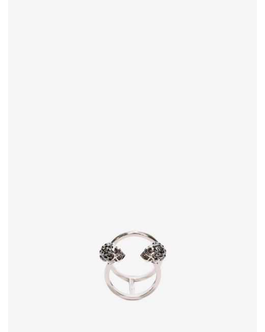 Alexander McQueen - Metallic Twin Skull Double Ring - Lyst