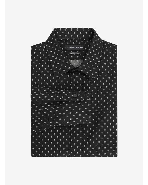 Alexander McQueen | Black Dotted Skull Regular Fit Single Cuff Shirt for Men | Lyst