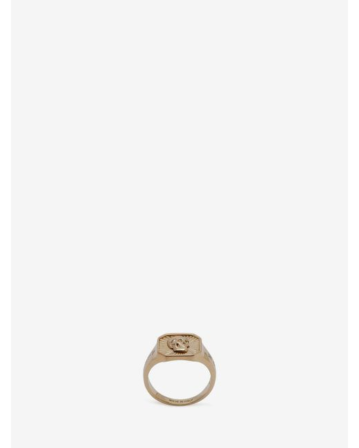 Alexander McQueen - Metallic Skull Medallion Square Ring for Men - Lyst