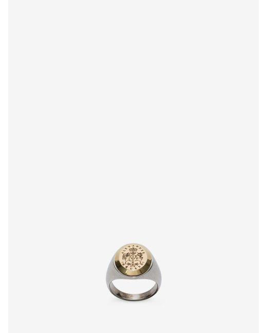 Alexander McQueen - Metallic Signet Ring for Men - Lyst