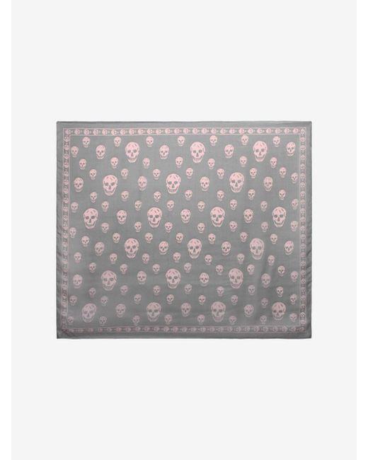 Alexander McQueen - Gray Classic Silk Chiffon Skull Scarf - Lyst