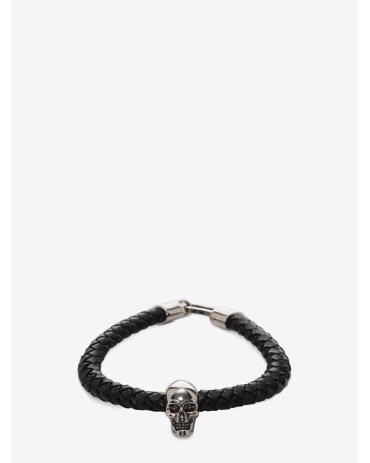Alexander McQueen | Black Skull Leather Bracelet | Lyst