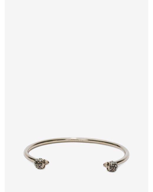 Alexander McQueen - Metallic Thin Jewelled Twin Skull Bracelet - Lyst