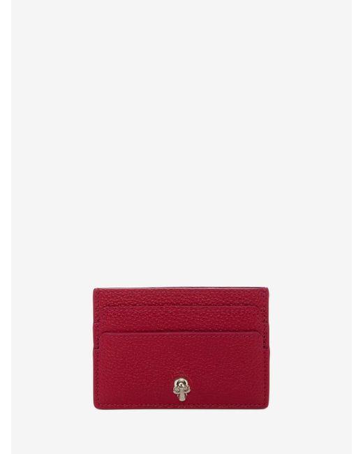 Alexander McQueen - Red Leather Skull Card Holder - Lyst