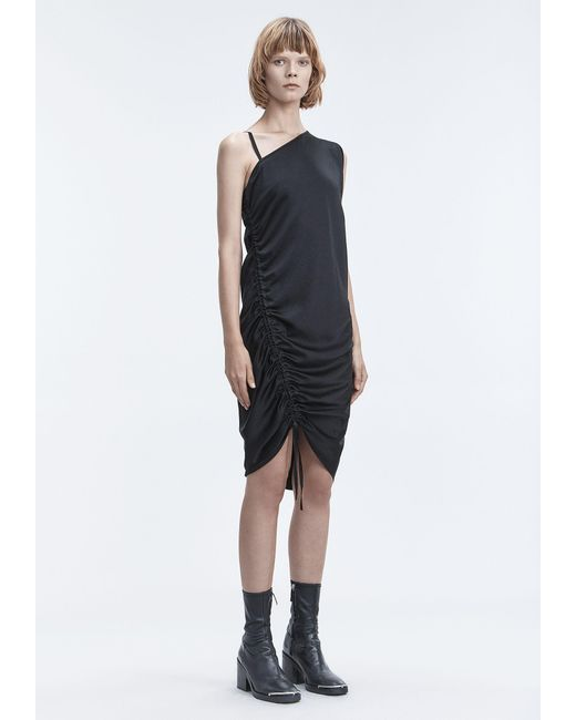 T By Alexander Wang - Black Ruched Dress - Lyst