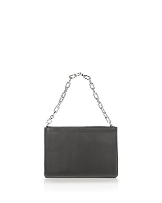 Alexander Wang | Black Large Attica Chain Flat Leather Pouch | Lyst