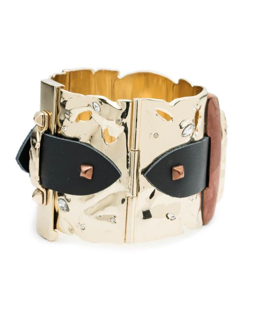 Alexis Bittar   Metallic Large Hinged Leather Detail Buckle Cuff Bracelet You Might Also Like   Lyst