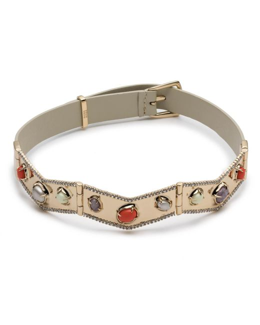 Alexis Bittar - Multicolor Stone Cluster Buckle Leather Bracelet - Lyst