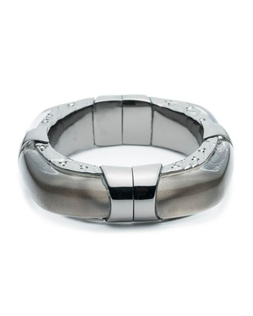 Alexis Bittar | Gray Large Soft Square Lucite Bangle With Rocky Metal Detail You Might Also Like | Lyst