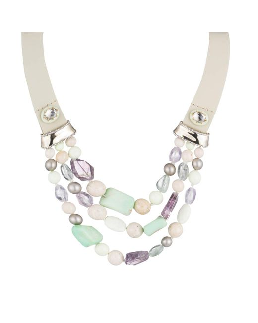 Alexis Bittar - Multicolor Beaded Triple Strand Leather Bib Necklace You Might Also Like - Lyst